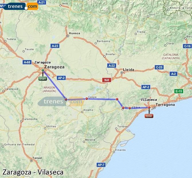 Karte vergrößern Züge Zaragoza Vilaseca
