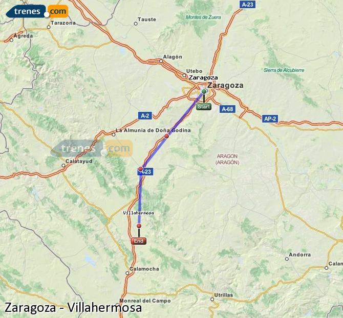 Karte vergrößern Züge Zaragoza Villahermosa
