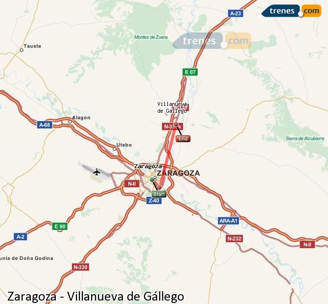 Agrandir la carte Trains Zaragoza Villanueva de Gállego