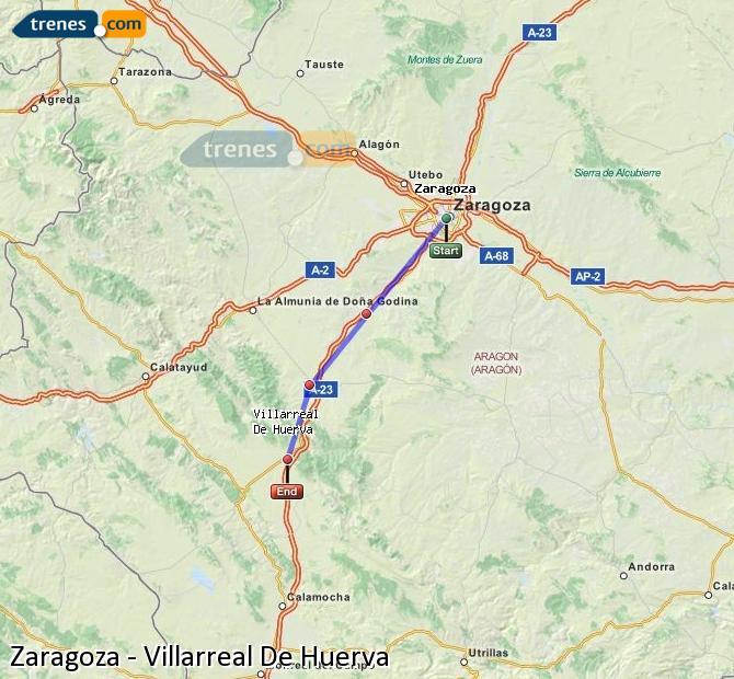 Ingrandisci la mappa Treni Zaragoza Villarreal De Huerva