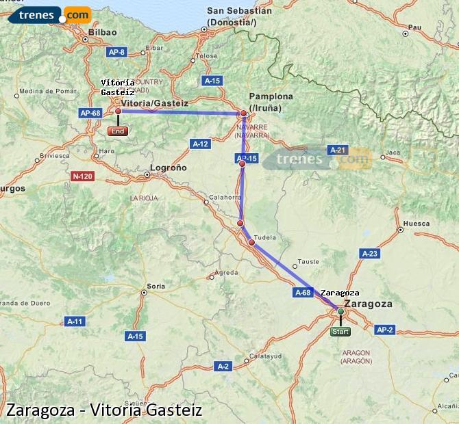 Karte vergrößern Züge Zaragoza Vitoria Gasteiz