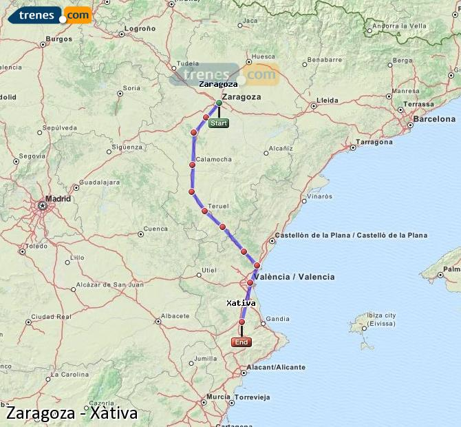Agrandir la carte Trains Zaragoza Xàtiva