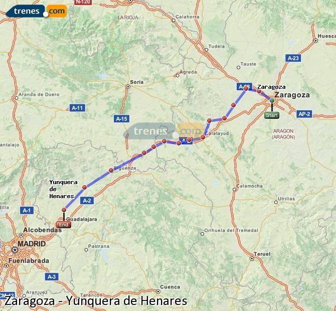 Karte vergrößern Züge Zaragoza Yunquera de Henares