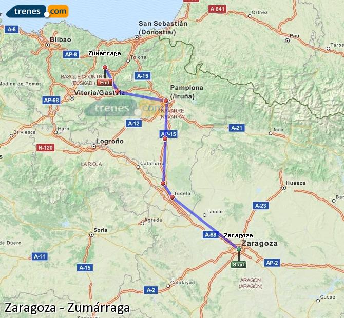 Ingrandisci la mappa Treni Zaragoza Zumárraga