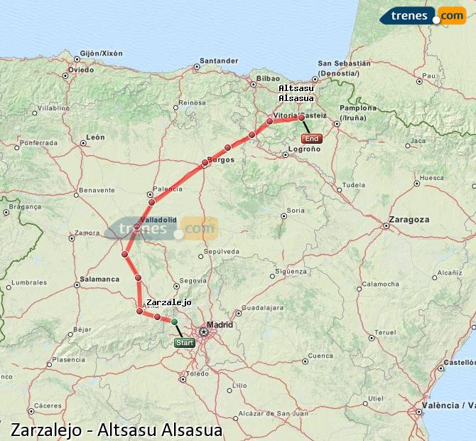 Ampliar mapa Trenes Zarzalejo Altsasu Alsasua