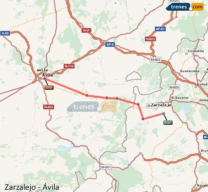Enlarge map Trains Zarzalejo to Avila
