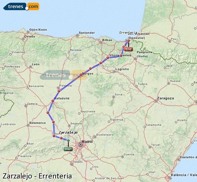Karte vergrößern Züge Zarzalejo Errenteria