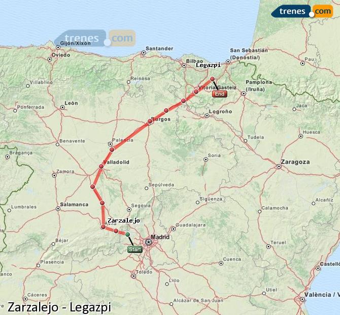 Ampliar mapa Trenes Zarzalejo Legazpi