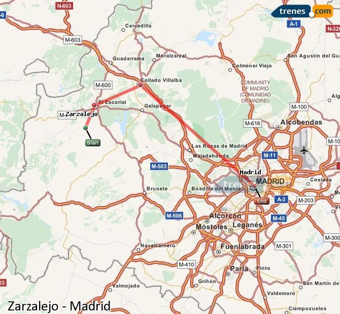 Karte vergrößern Züge Zarzalejo Madrid