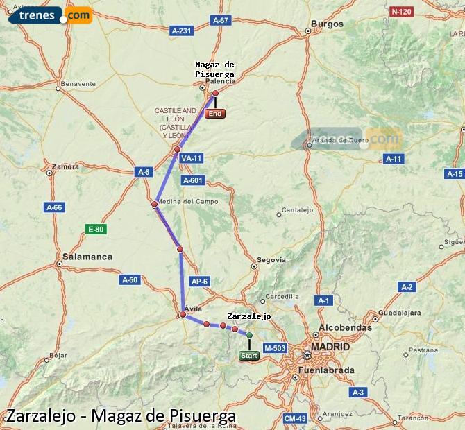 Karte vergrößern Züge Zarzalejo Magaz de Pisuerga