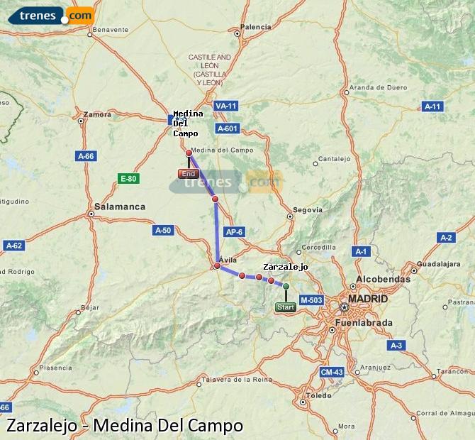 Ingrandisci la mappa Treni Zarzalejo Medina Del Campo