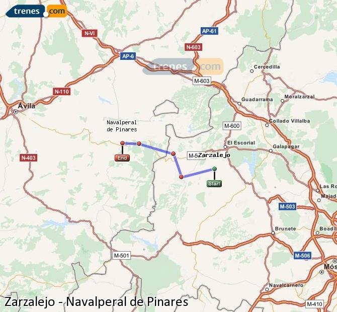 Karte vergrößern Züge Zarzalejo Navalperal de Pinares