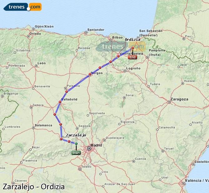 Karte vergrößern Züge Zarzalejo Ordizia