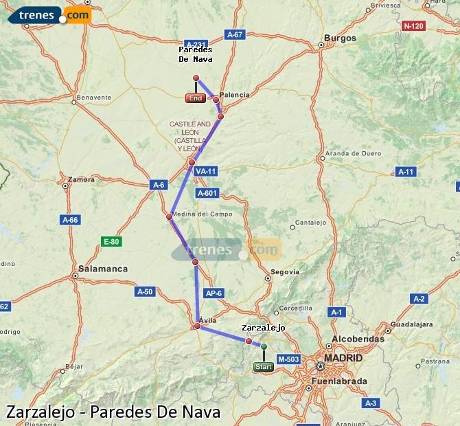 Ampliar mapa Trenes Zarzalejo Paredes De Nava