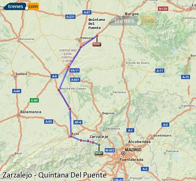 Ingrandisci la mappa Treni Zarzalejo Quintana Del Puente