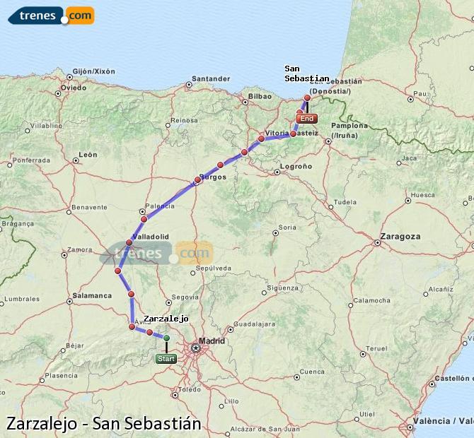 Karte vergrößern Züge Zarzalejo San Sebastián