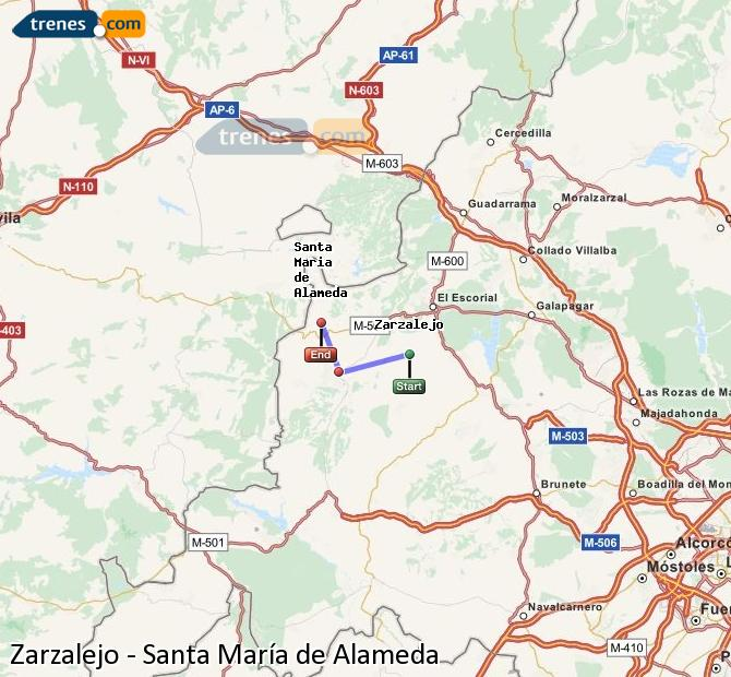 Enlarge map Trains Zarzalejo to Santa Maria de Alameda