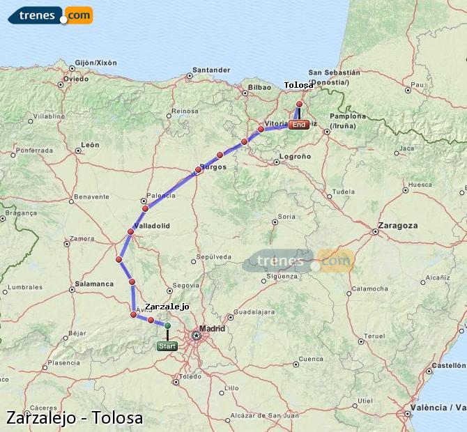 Karte vergrößern Züge Zarzalejo Tolosa