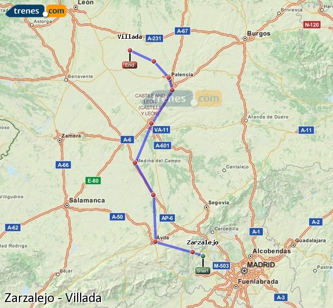 Karte vergrößern Züge Zarzalejo Villada