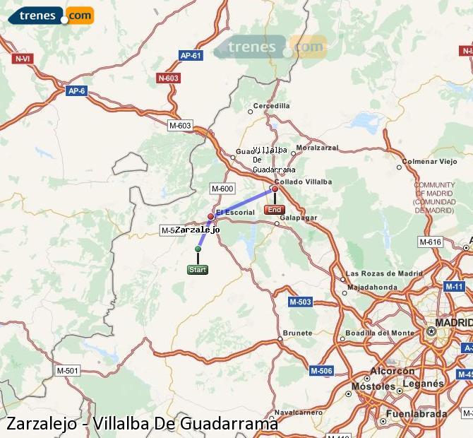 Agrandir la carte Trains Zarzalejo Villalba De Guadarrama