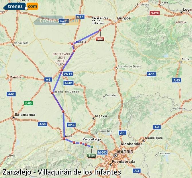 Karte vergrößern Züge Zarzalejo Villaquirán de los Infantes