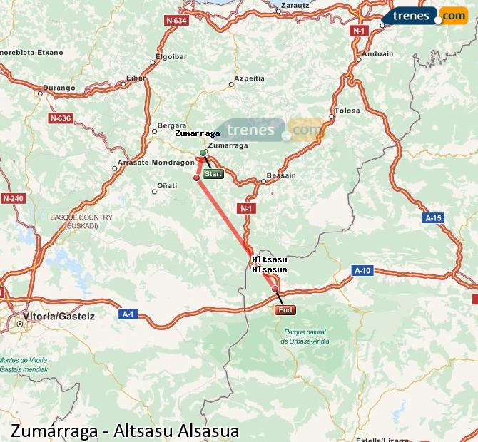 Karte vergrößern Züge Zumárraga Altsasu Alsasua