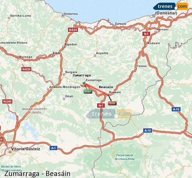 Ampliar mapa Comboios Zumárraga Beasáin
