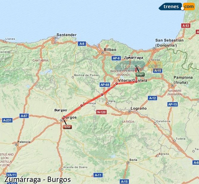 Karte vergrößern Züge Zumárraga Burgos