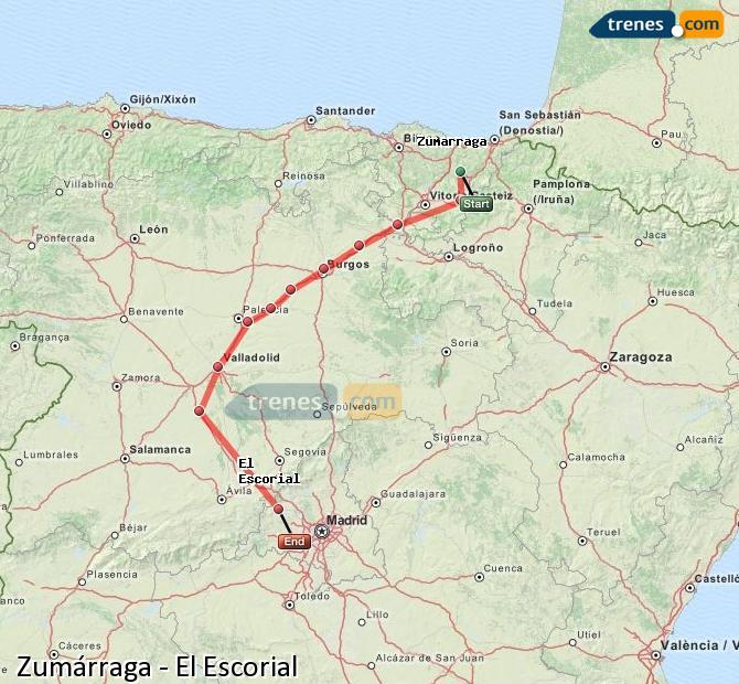 Karte vergrößern Züge Zumárraga El Escorial