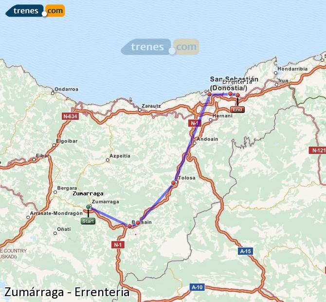 Enlarge map Trains Zumarraga to Errenteria