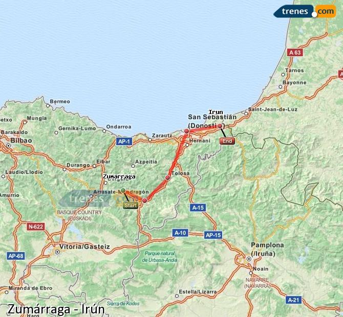 Ingrandisci la mappa Treni Zumárraga Irún