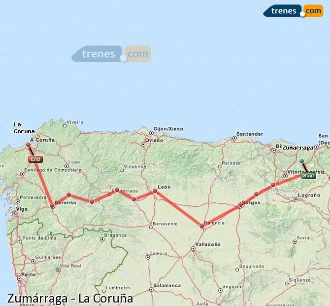 Ingrandisci la mappa Treni Zumárraga La Coruña