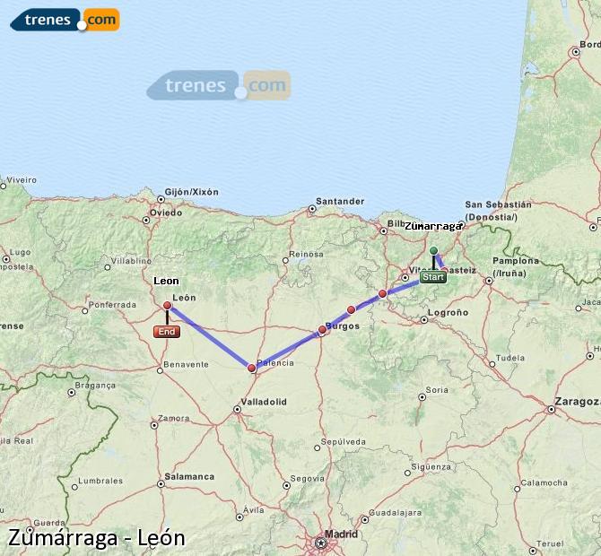 Karte vergrößern Züge Zumárraga León