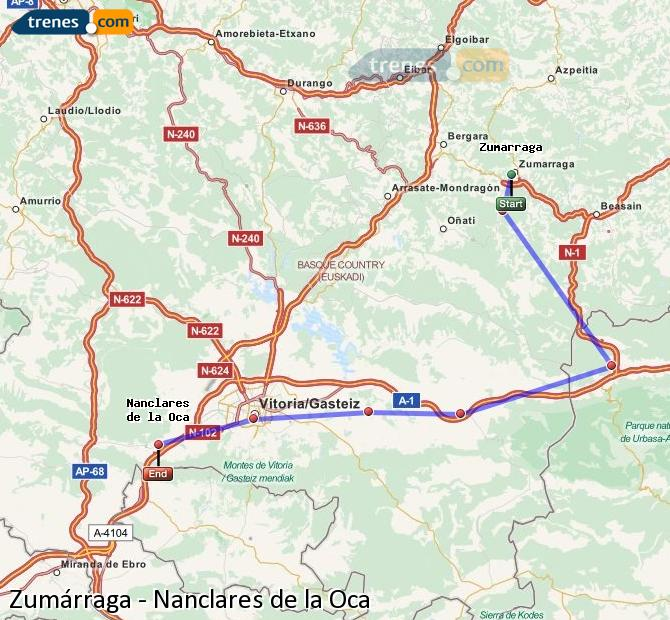 Ampliar mapa Comboios Zumárraga Nanclares de la Oca