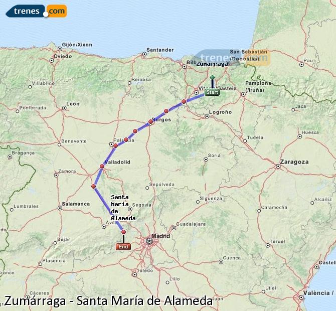 Ampliar mapa Comboios Zumárraga Santa María de Alameda