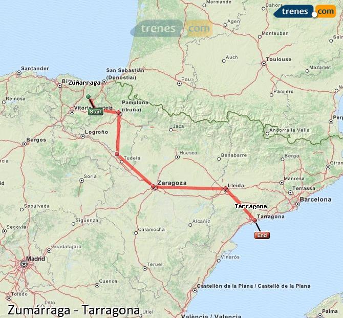 Agrandir la carte Trains Zumárraga Tarragone