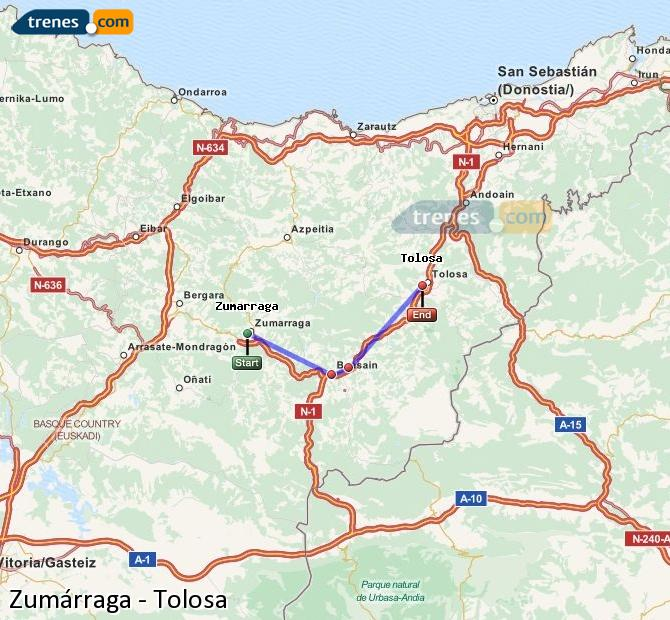 Ingrandisci la mappa Treni Zumárraga Tolosa