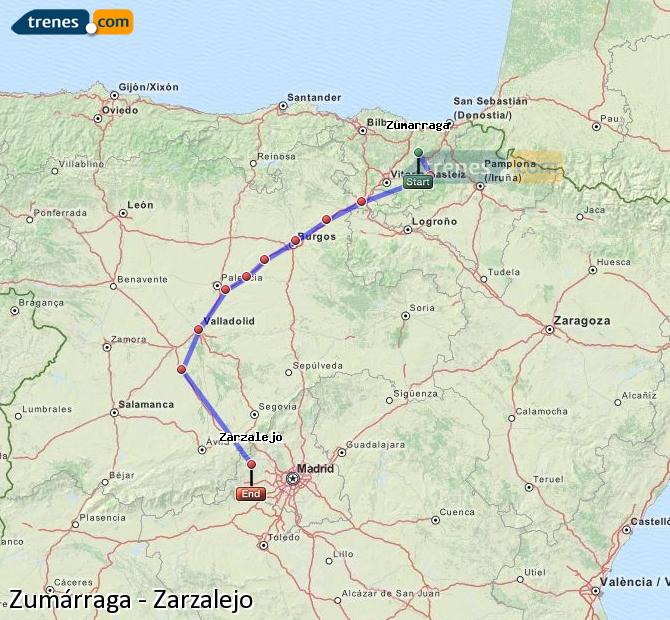 Enlarge map Trains Zumarraga to Zarzalejo